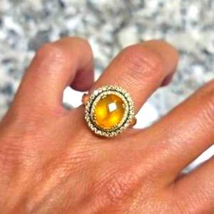 14K gold Citrine diamond ring size 7